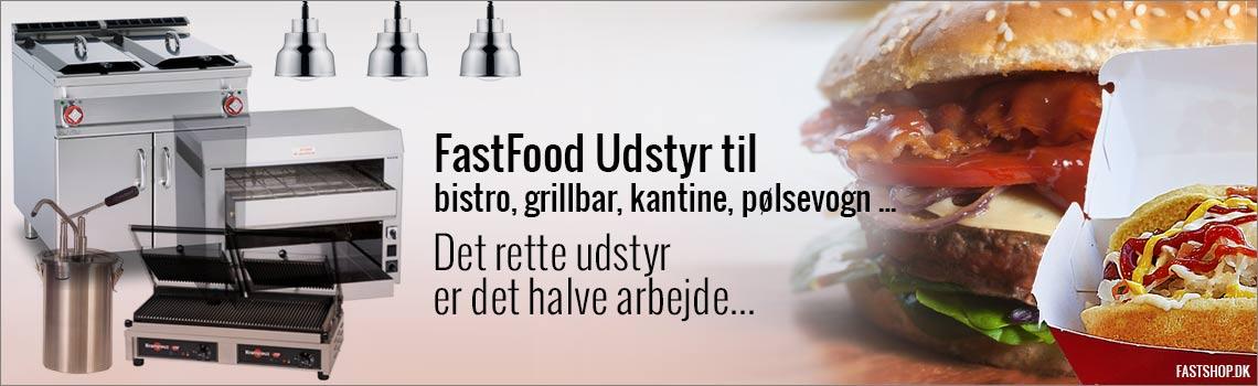 Fast food udstyr til pølsevogn, bistro, grillbar, kantine og pizzeria